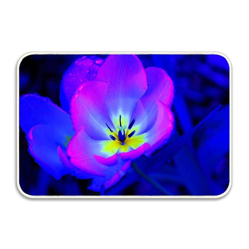 大事にするブラウス解くマット 玄関マット ふわっと優しい踏み心地のアウトドアマット 約40×60cm 青と紫のバラ エントランス ドア ガーデニング ガーデン おしゃれ かわいい 土間 泥落とし ナチュラル 外 屋外 フロッグ