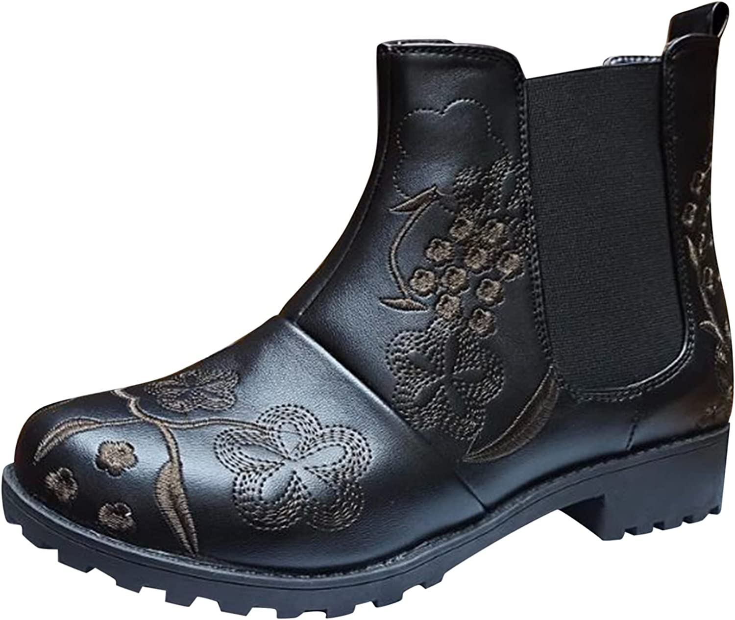 ZiSUGP Cowboy Boots For Women Retro Embroidered Low Heel Elastic Ankle Boots