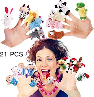 21 PCS Finger Puppets,Cloth Velvet Soft Puppet Toys Set-10 PCS Animal With