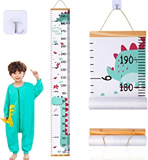 JJGoo Baby Growth Chart, Dinosaur Height Chart Hanging Ruler Wall Decals for Kids Boys Girls, Wood Frame Fabric Canvas Removable Measure Wall Ruler for Children