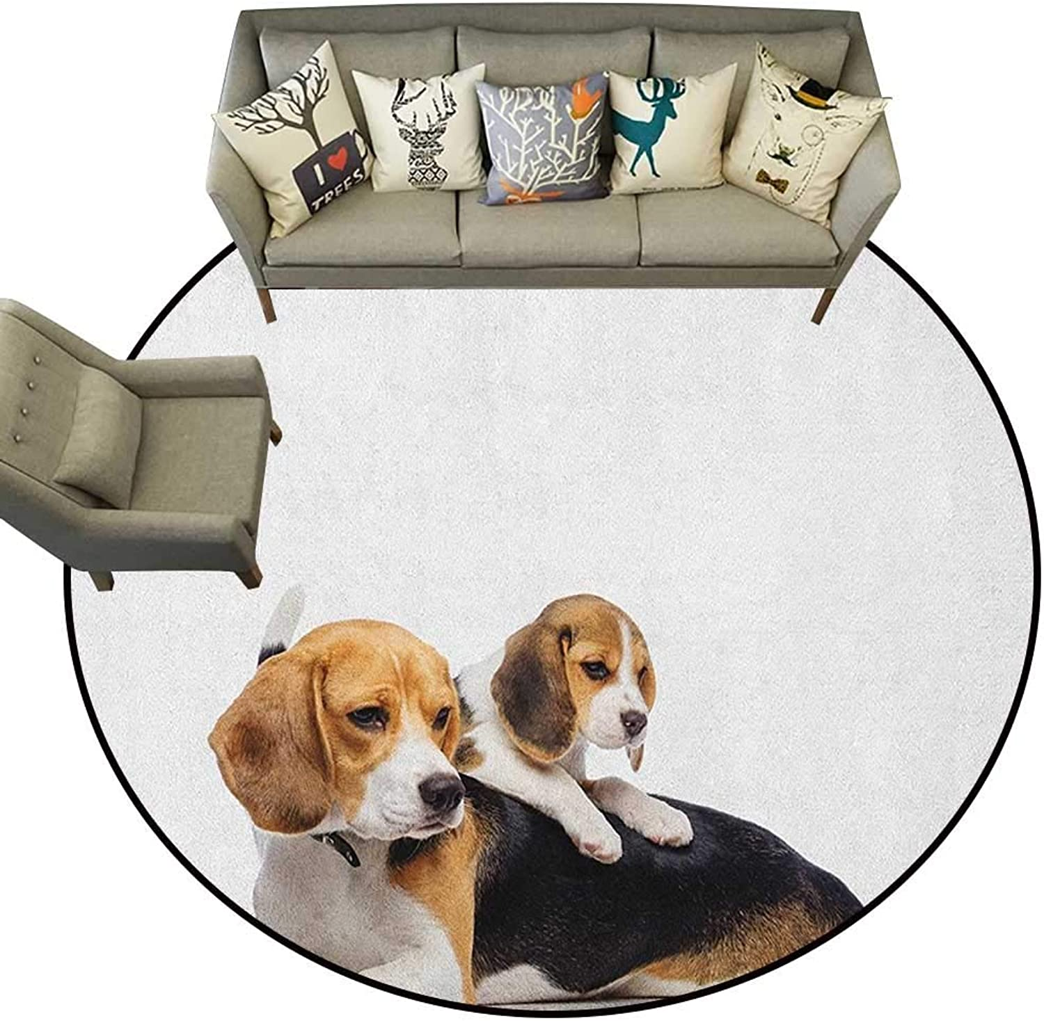 Beagle,Personalized Floor mats Cute Family with Mother and Baby Puppy Domestic Fur Animal Photography D48 Floor Mat Entrance Doormat
