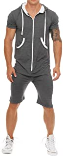 COOFANDY Mens Rompers Hooded Tracksuit Zipper One Piece Jumpsuit Casual Contrast Color Short Sleeve Comfy Playsuit Shorts