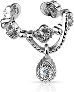 Non-Piercing Chain with CZ Dangle Ear Cuff Polished 316L Surgical Steel
