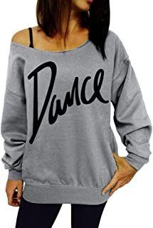 Women Off Shoulder Sweatshirts Casual Dance Letter Print Long Sleeve Loose Pullover Tops