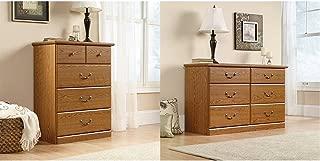 Sauder Orchard Hills 4-Drawer Chest, Carolina Oak Finish + Sauder 401410 Carolina Oak Finish Orchard Hills Dresser, 6 Drawer_Bundle
