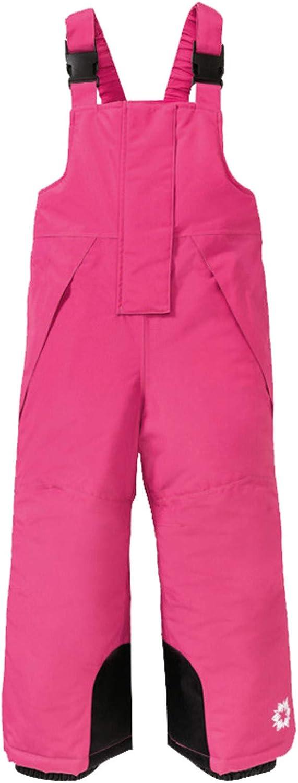 Children Boys Girls Winter Snow Ski Bibs Waterproof Windproof Thicken Warm Pants Overalls with Adjustable Suspenders