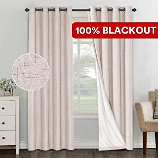 PrimeBeau 100% Blackout Thermal Insulated Curtains/Drapes/Draperies, Luxury and Thick Linen Energy Efficient Curtains for Bedroom/Sliding Glass Door Extra Long 108 Inches, Natural, 2 Panels