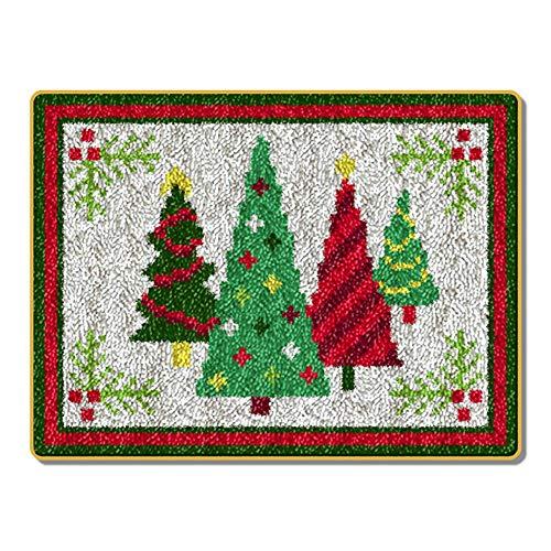 WYYHAA DIY Cushion Carpet Mat Latch Hook Rug Kits Crocheting Rug Embroidery Shaggy Decoration and Activity 20.5' X 15' /5238Cm(Christmas Tree)
