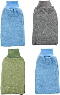 TOPBATHY 4pcs Deep Exfoliating Bath Gloves Striped Back Scrubbing Mitts Shower Wash Body Leg Cleansing Tool For Women Men Shower Spa (Random Color)