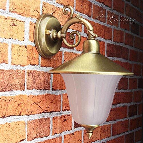 *Außen Wandleuchte Messing Antik rostfrei Riffelglas Schirm Premium massive Wandlampe Außenleuchte Haus Balkon E14*