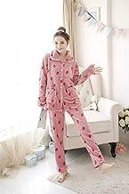 Dames Pyjama Set,Roze Warm Flanel Casual Lange Mouw Aardbei Print Nachtkleding Zachte Lange Broek Loungewear Leuke Herfst ...