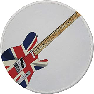 Non-Slip Rubber Round Mouse Pad,Union Jack,Classical Electric Guitar UK Flag Great Britain Music Instrument Decorative,Light Brown Silver Black,11.8