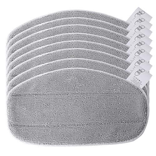 KEEPOW 8 Ersatzpads für Leifheit Dampfreiniger CleanTenso, Dampfbesen Wischbezug für eine porentiefe Reinigung, Dampfmop Ersatz mit Klettunterseite, Grey