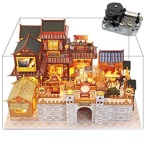 Juego de casa de muñecas en miniatura de estilo chino de la ciudad antigua, casa de madera creativa patio 3D juguete sorpresa rompecabezas regalos presentes