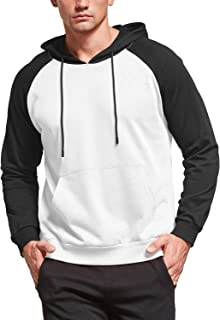 MLANM Men's Contrast Raglan Long-Sleeve Fashion Casual Pullover Hoodie with Kanga Pocket
