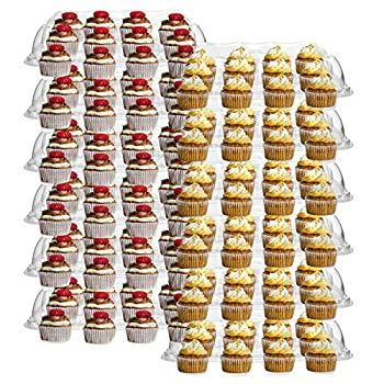 Hedume 12 Pack Cupcake Carrier 12 Counts Stackable Cupcake Boxes Clear Cupcake Container with Detachable Lid for Cupcakes Muffin BPA-free