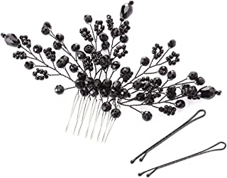 Lurrose 3ピースブライダルヘアコームクリスタルビーズサイドコーム手作りの結婚式の誕生日パーティーボビーピンヘアアクセサリー用女性女の子(黒)