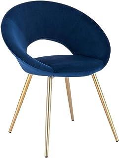 PPCAK Tela de Comedor de Terciopelo Colorido Tela Asiento tapizado con Patas de Metal Vestido Salón Casa Muebles de Cocina (Color : Blue)