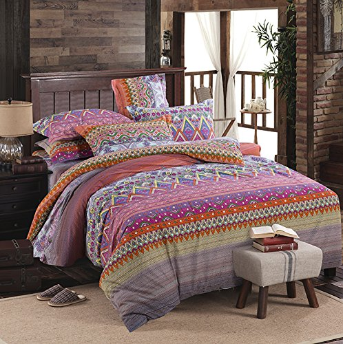 LELVA Boho Style Bedding Set Boho Duvet Cover Set Bohemian Style Bedding Set Floral Bedding Set Queen King Size 4pcs (King)