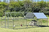 Chicken Coop Run Large Metal Chicken Pen Outdoor Walkin Chicken Runs for Yard Large Rabbits Habitat Flat Shaped Poultry Cage with Waterproof Cover for Backyard Farm Use(9.2'L x 18.7'W x 6.4'H)