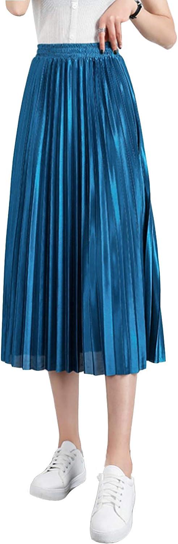 Duyang Women's Vintage High Waisted Pleated Midi Skirt Casual Chiffon Boho Elastic A-Line Swing Skirt