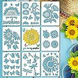 Gukasxi 9 plantillas de girasol reutilizables con diseño de mariposa, girasol, plantillas de dibujo para pintar en pared de madera, decoración del hogar