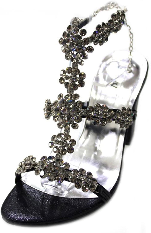 W  W Frauen Damen Damen Abend Fashion Sandale Original Swarovski-Stein Blockabsatz Ball Party Hochzeit Brautschmuck Schuhe Größe 4–10(wingl)  zum niedrigsten Preis