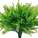 4 Pcs Artificial Ferns Plants Bushes Artificial Fake Boston Fern Shrubs Plastic Plant Greenery for Outdoor UV Resistant Garden Office Garden Indoor Decor