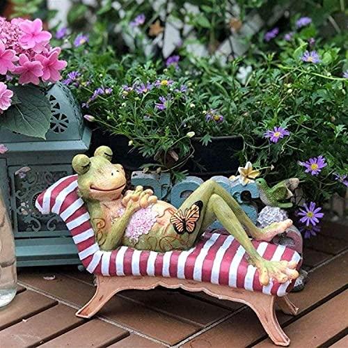 YANRUI Estatuilla de rana para jardín al aire libre, escultura animal, decoración del hogar, estatuilla de rana en la silla, parque, terraza, decoración de jardinería (color verde)