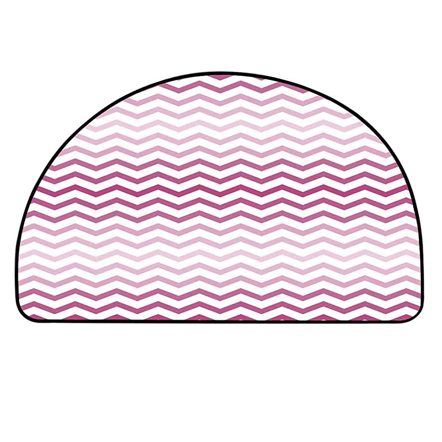 YOLIYANA Light Pink Semi Circle Mat,Chevron Zigzag Pattern with Twisted Parallel Lines in Vibrant Tones Graphic Carpet Indoor Mat,35.4