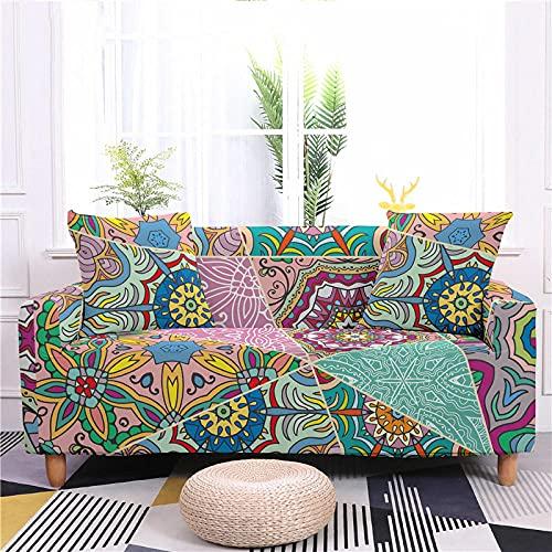Funda Sofa 4 Plazas Chaise Longue Mandala Multicolor Fundas para Sofa con Diseño Universal,Cubre Sofa Ajustables,Fundas Sofa Elasticas,Funda de Sofa Chaise Longue,Protector Cubierta para Sofá