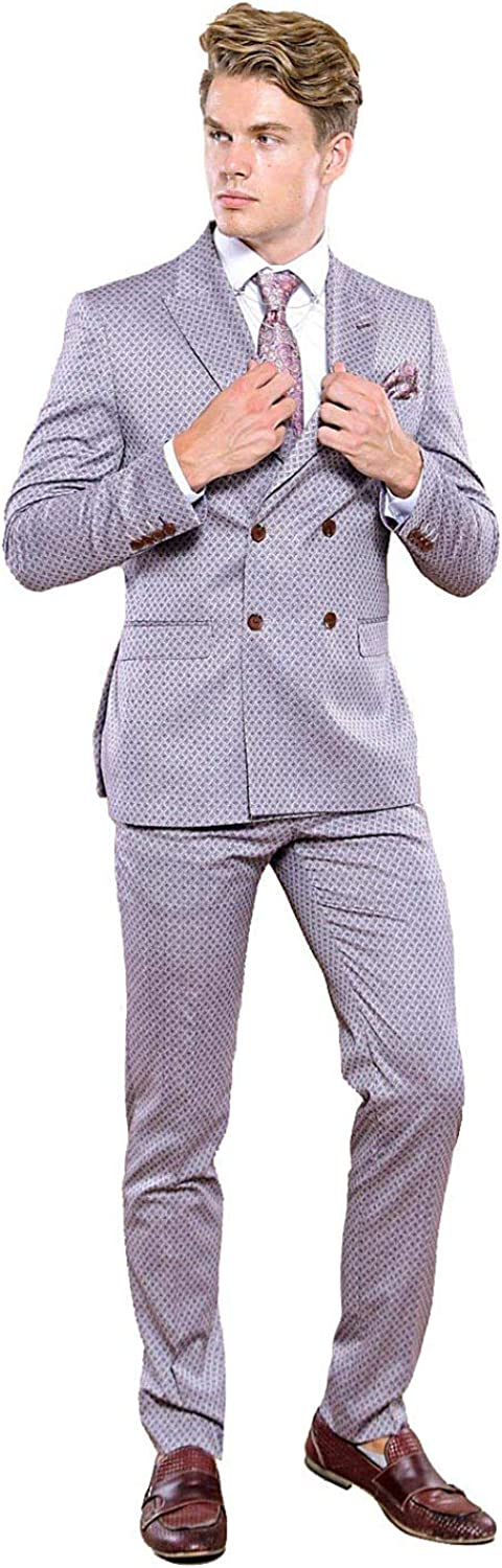 Wessi | Patterned Light Burgundy Double Breasted Suit