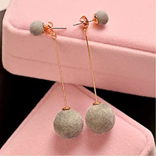 1 Pair Fashion Artificial Hair Ball Dangle Earring For Women Cute White Pompom Earring Girl Nice Gifts Accessories