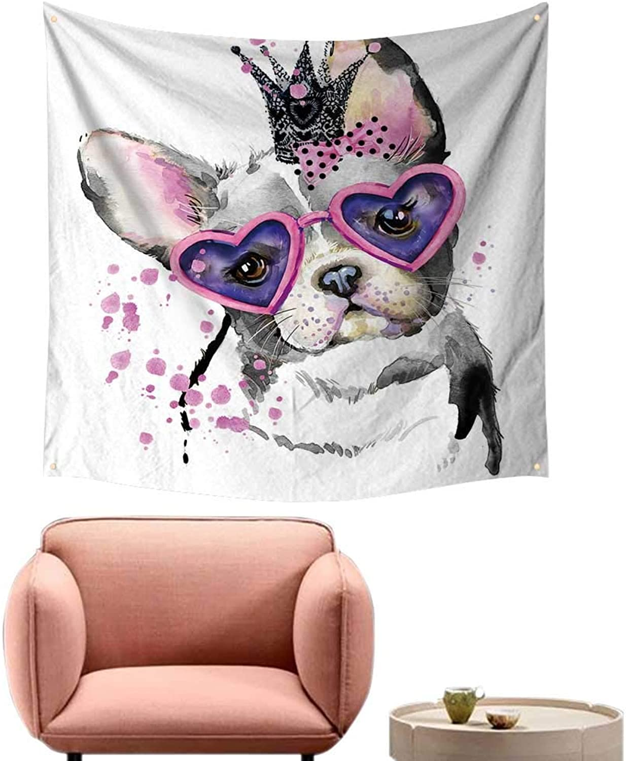 Alsohome Bed Tapestry Beautiful Tapestry for Bedroom Dog Dog T Shirt Graphics Dog Backgroun Dog for 55 X55