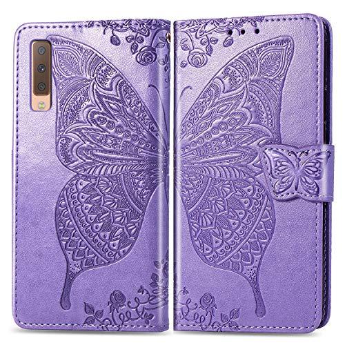 Snow Color Galaxy A7 2018 Hülle, Premium Leder Tasche Flip Wallet Case [Standfunktion] [Kartenfächern] PU-Leder Schutzhülle Brieftasche Handyhülle für Samsung Galaxy A7 2018/A750FN - COSD011174 Lila
