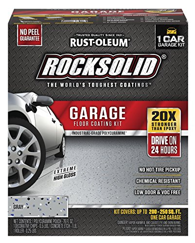 Rust-Oleum 60003 RockSolid Polycuramine 1 Car Garage Floor Coating Kit, Gray