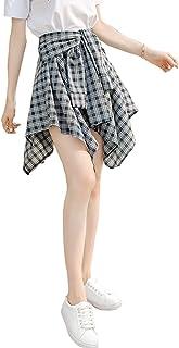 ASHERANGEL チェックスカート腰巻風スカート ミニスカート 可愛い レディース コットン 春夏 シャツ風 女子高生 ウエストゴム カジュアル 通園通学 全10色