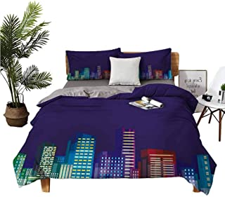 4 Bedding Cover Set Bed Sheets Queen Set Cotton Sheets Cartoon Print of City Scenery Landscape of Apartments and Buildings...
