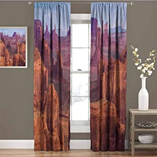 funkky Canyon Drapes for LivingRoom View of Deep Canyon with Different Scaled Length Red Rocks Discovery Artwork Theme Suitable for Bedroom Living Room Study, etc.W108 x L96 Brown Blue