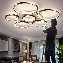 Lampa sufitowa LED, ściemniana, z pilotem zdalnego sterowania, duża, do salonu, nowoczesna barwa światła i jasność, regulo...