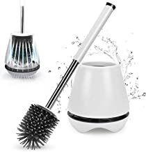 Zirtash White Toilet Brush and Holder Set for Bathroom with Soft Bristle, Antibacterial and Silicon Toilet Brush Head, Clo...