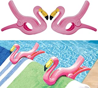 Flamingo Towel Clips Clamp Large Novelty Sunbed Beach Pegs Heavy Laundry Clothes Swimsuits Blanket Sun Bed Lounger for Holiday Chair Pool Pack of 2