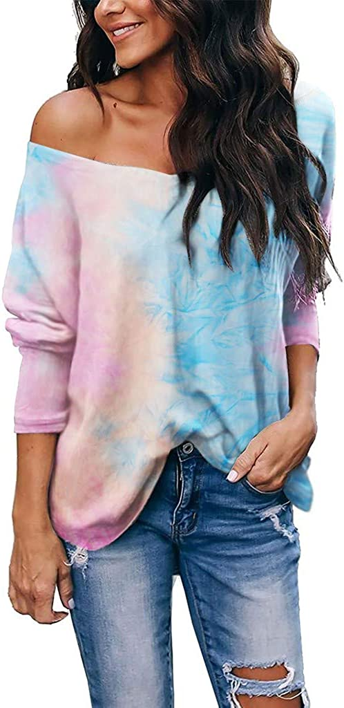 POTO Tops for Womens Tie Dye Pullover Sweatshirt V Neck T-Shirts Long Sleeve Casual Blouse