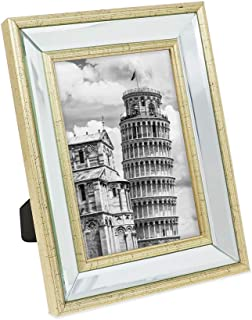 Isaac Jacobs 5x7 Gold Beveled Mirror Picture Frame - Classic Mirrored Frame with Slight Slanted Angle Made for Wall Décor Display, Tabletop, Photo Gallery and Wall Art (5x7, Gold)