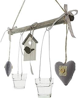 Windlicht Hänger Shabby Chic Grau Vogelhaus Kerzenhalter Windlicht Teelicht 50cm