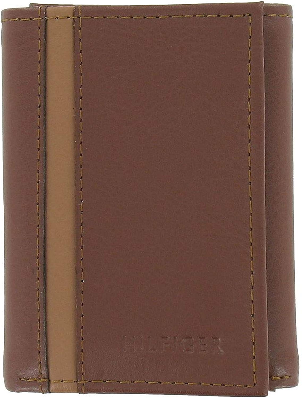 Tommy Hilfiger Men's Brown/Tan Pebbled Genuine Leather | ID Holder | Tri-Fold Wallet