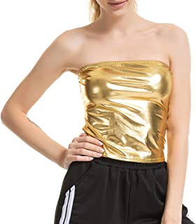 31bfef91af Liliam Women Sexy Shiny Metallic Strapless Clubwear Bandeau Vest Tank Crop  Tube Tops Bra