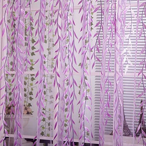 YAHLSEN Wicker Offset gedruckt Vorhang Pastoral Blumen Vorhänge kühlen, Größe: 1m x 2,7m (Grün) Q (Color : Purple)