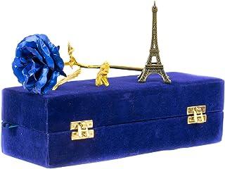MSA Jewels 24CT Golden Rose Artificial Flower Blue+ Eiffel Tower Combo Pack Gift Box (30 X 10 X 8 cm,10cm)
