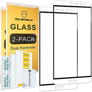 [عبوتان] -واقي شاشة Mr.Shield لهاتف Huawei Mate 9 [غطاء كامل] [لون أبيض وأسود) [زجاج مقسى] مع استبدال مدى الحياة